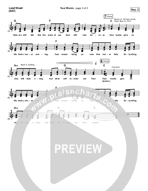 Your Words Lead Sheet (SAT) (Third Day)