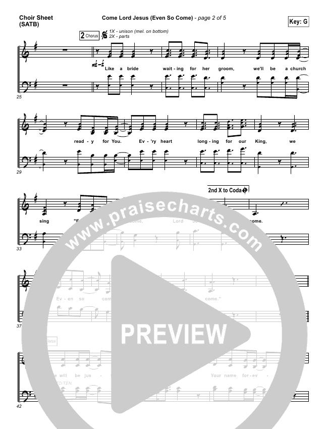 Even So Come Choir Sheet (SATB) (Passion / Chris Tomlin)