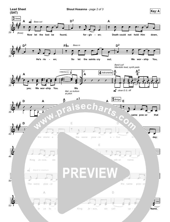 Shout Hosanna Lead Sheet (SAT) (Passion / Kristian Stanfill)