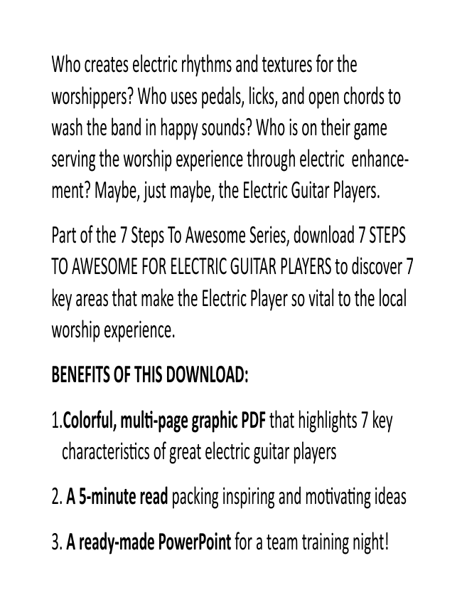 7 Steps To Awesome For Electric Players eBook (Dan Wilt / WorshipTraining)