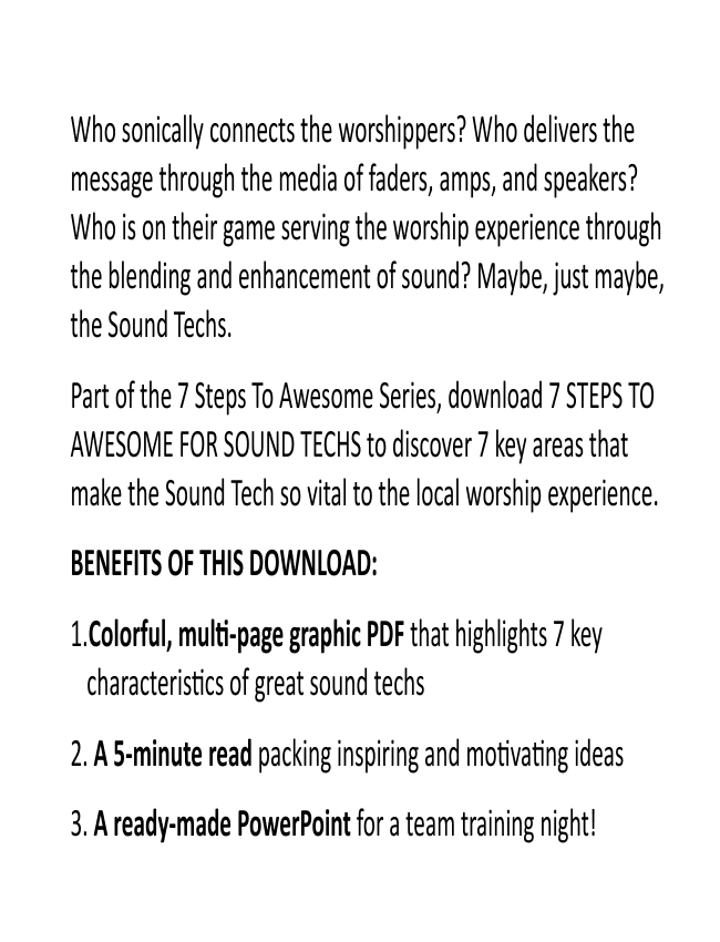 7 Steps To Awesome For Sound Techs eBook (Dan Wilt / WorshipTraining)