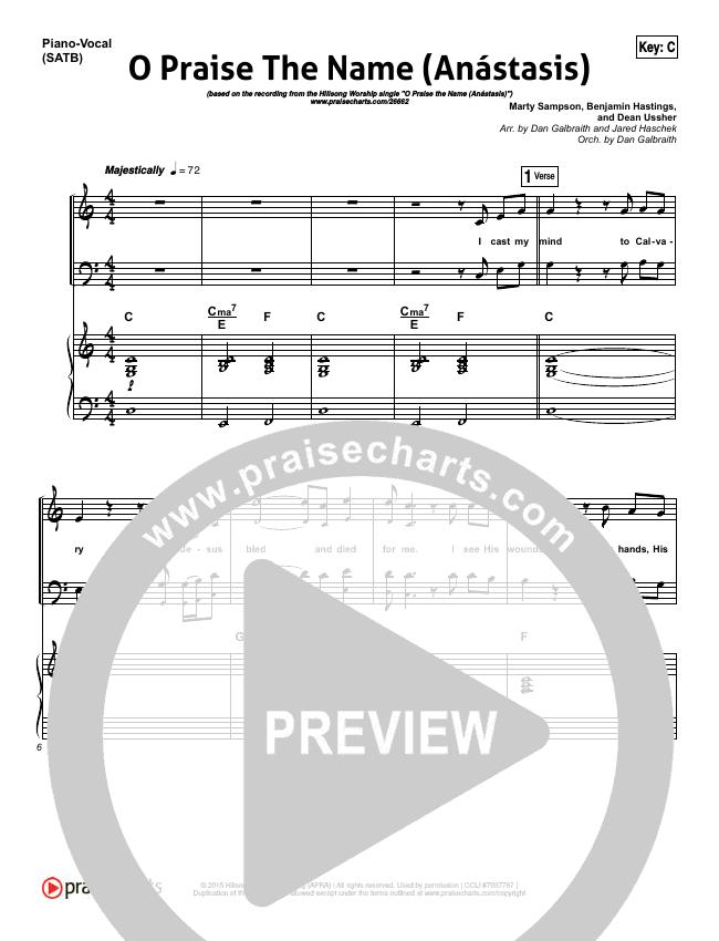 O Praise The Name (Anastasis) Piano/Vocal Pack (Hillsong Worship)