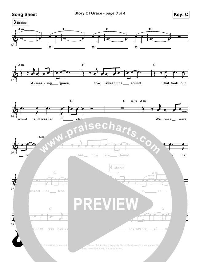 Story Of Grace Lead Sheet (Ascension Worship)
