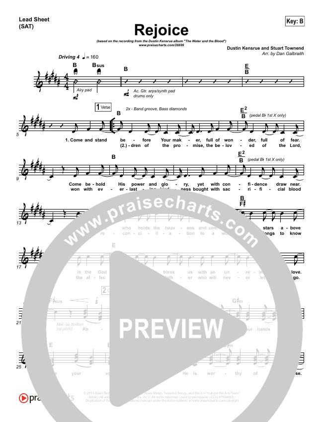 Rejoice Piano/Vocal (SATB) (Dustin Kensrue)