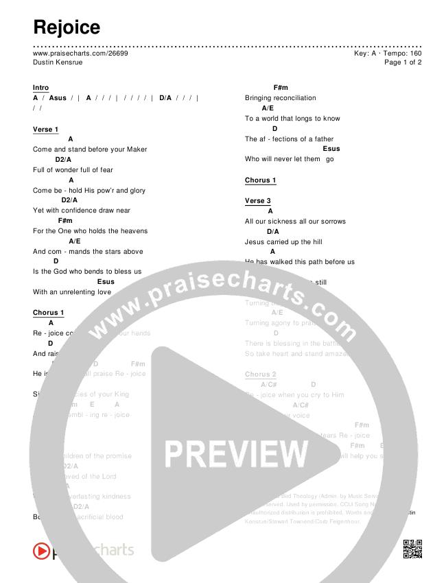 Rejoice Chords & Lyrics (Dustin Kensrue)