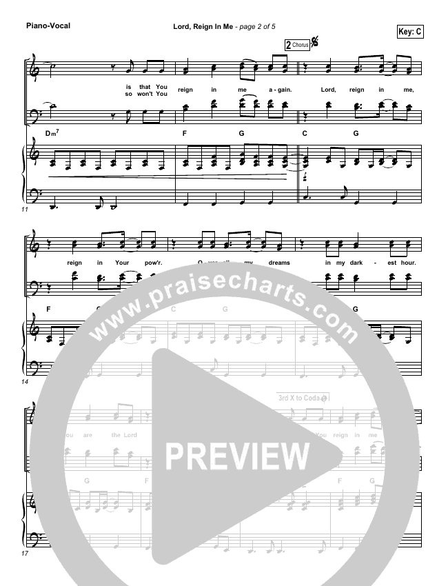 Lord Reign In Me Piano/Vocal (SATB) (Brenton Brown)
