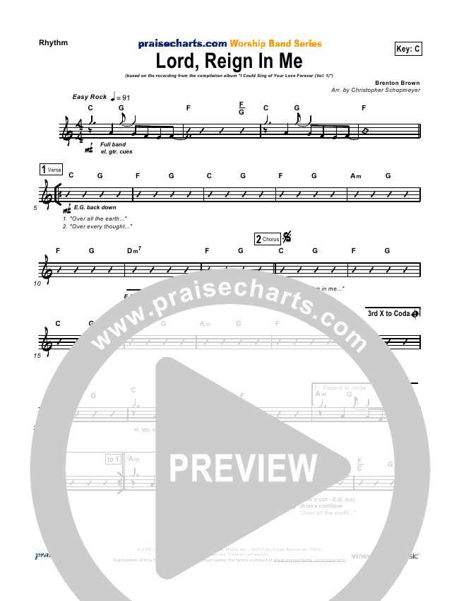Lord Reign In Me Rhythm Chart (Brenton Brown)