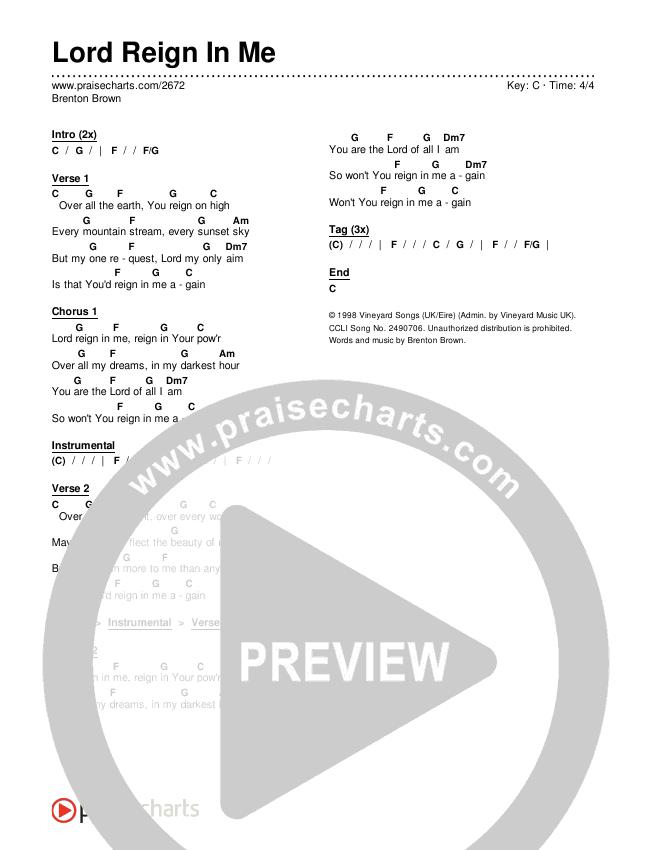 Lord Reign In Me Chords & Lyrics (Brenton Brown)
