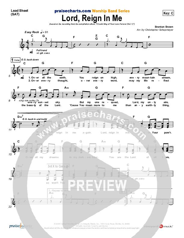 Lord Reign In Me Lead Sheet (SAT) (Brenton Brown)