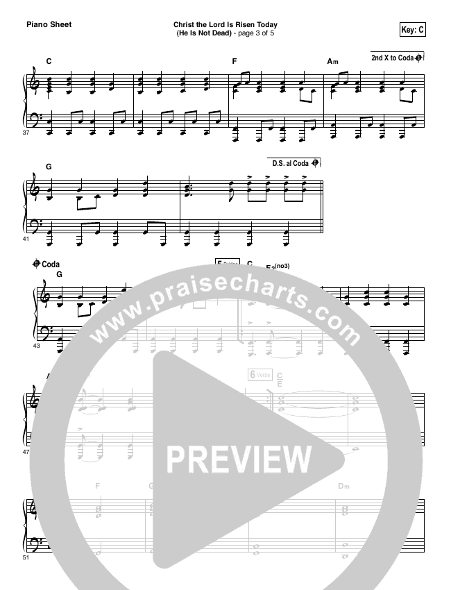 Christ The Lord Is Risen Today (He Is Not Dead) Piano Sheet (NCC Worship)
