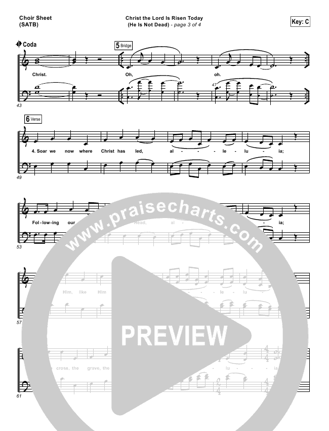 Christ The Lord Is Risen Today (He Is Not Dead) Choir Sheet (SATB) (NCC Worship)