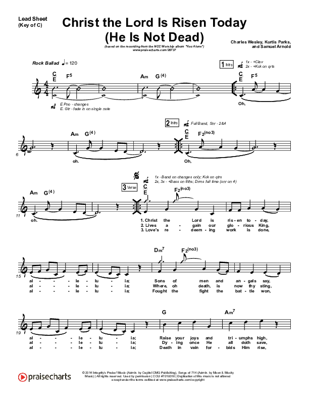 Christ The Lord Is Risen Today (He Is Not Dead) Lead Sheet (Melody) (NCC Worship)