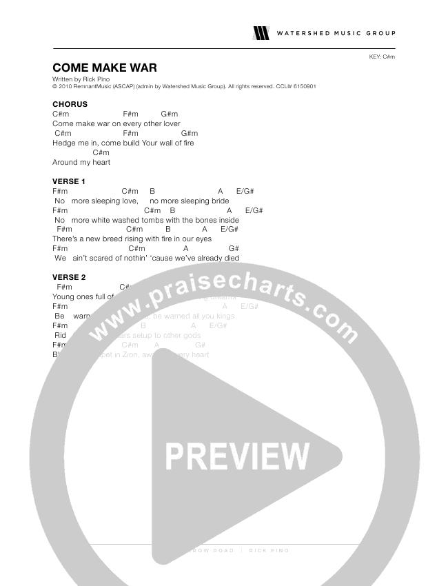 Come Make War Chords Rick Pino Praisecharts