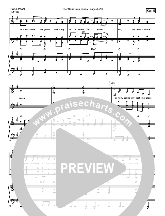 The Wondrous Cross Piano/Vocal (SATB) (Christy Nockels)
