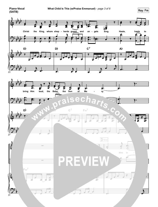 What Child Is This (Praise Emmanuel) Piano/Vocal (SATB) (Paul Baloche)