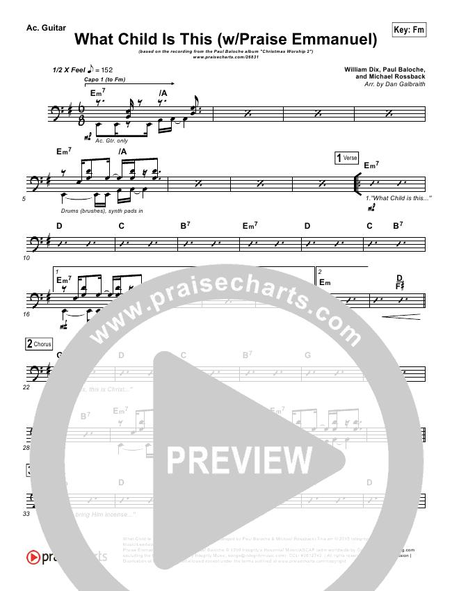 What Child Is This (Praise Emmanuel) Rhythm Chart (Paul Baloche)
