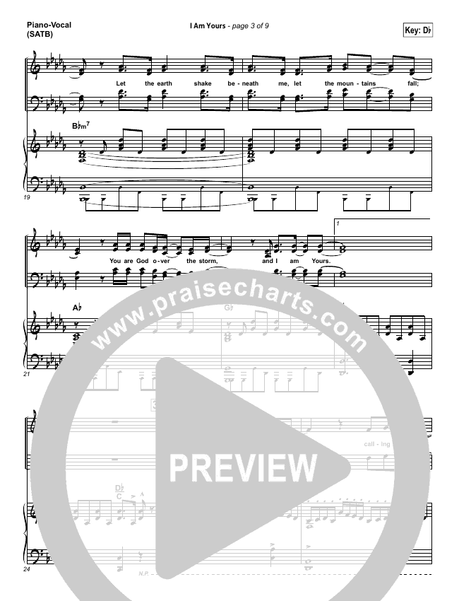 I Am Yours Piano/Vocal (SATB) (Lauren Daigle)