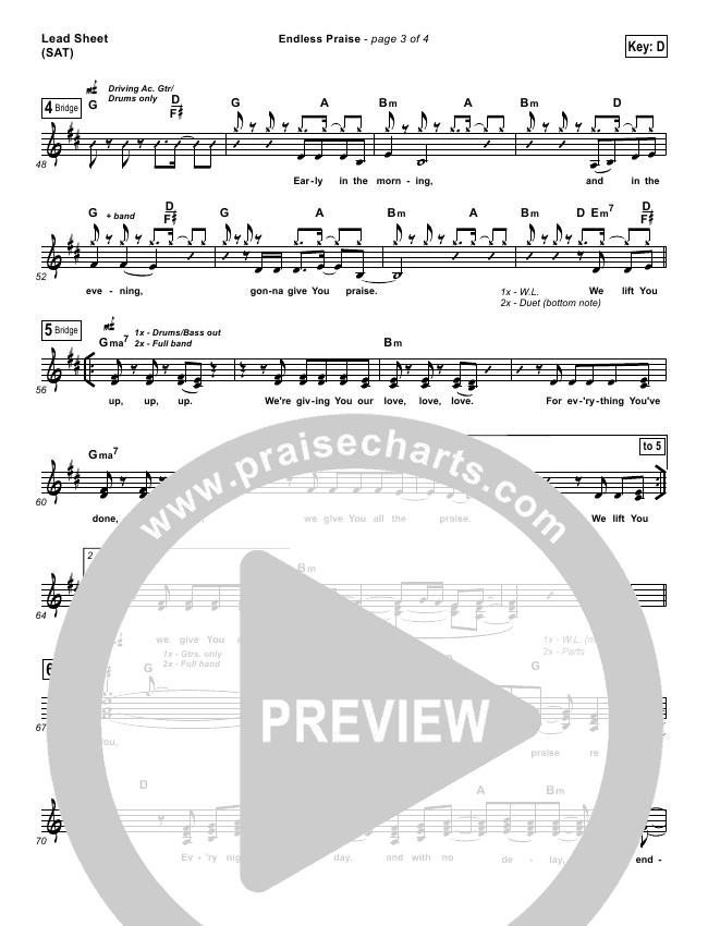 Endless Praise Lead Sheet (Planetshakers)