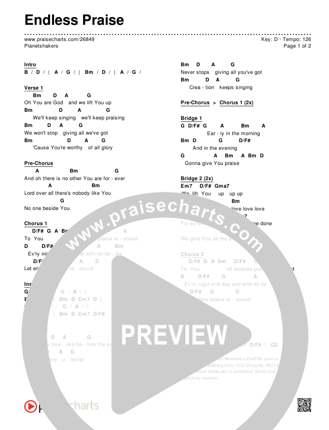 Endless Praise Chords & Lyrics (Planetshakers)