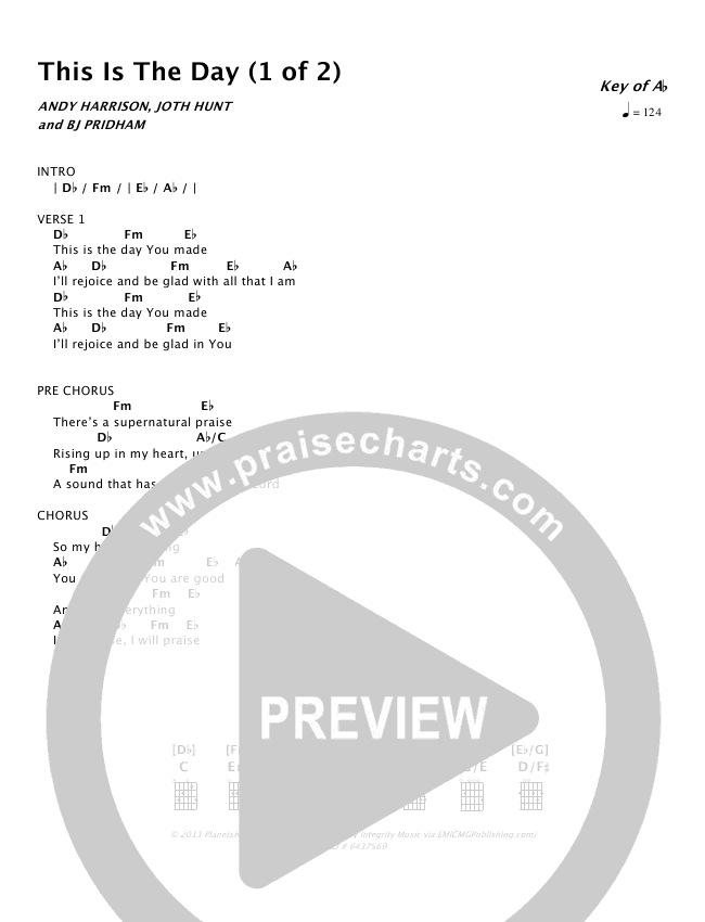This Is The Day Chords Planetshakers Praisecharts
