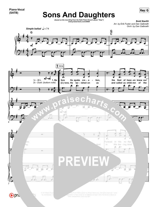 Sons And Daughters Piano/Vocal (SATB) (Brett Stanfill / North Point Worship)