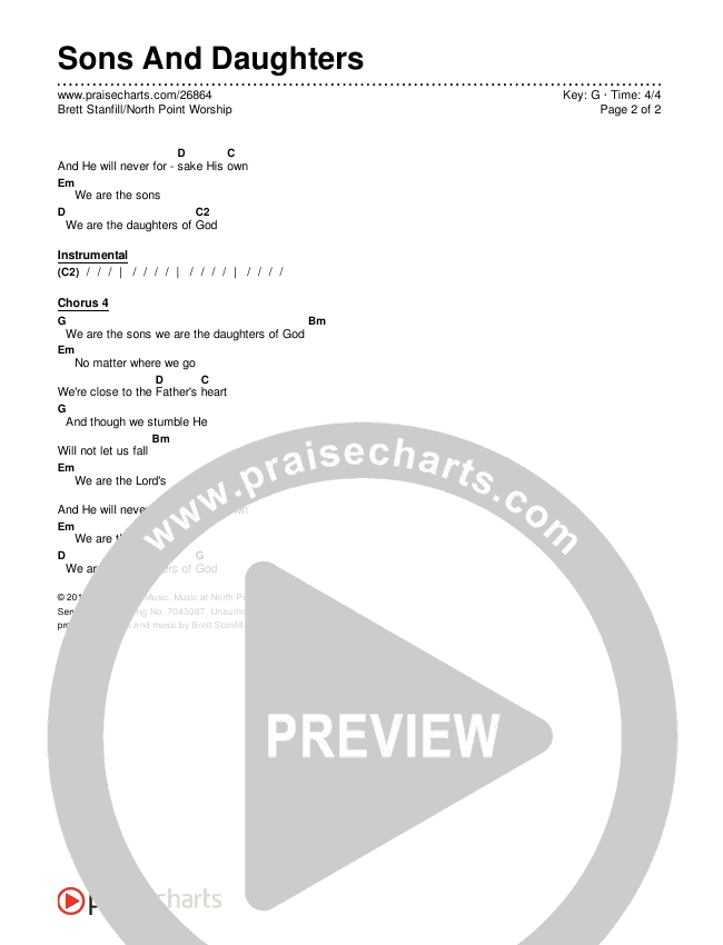 Sons And Daughters Chords & Lyrics (Brett Stanfill / North Point Worship)