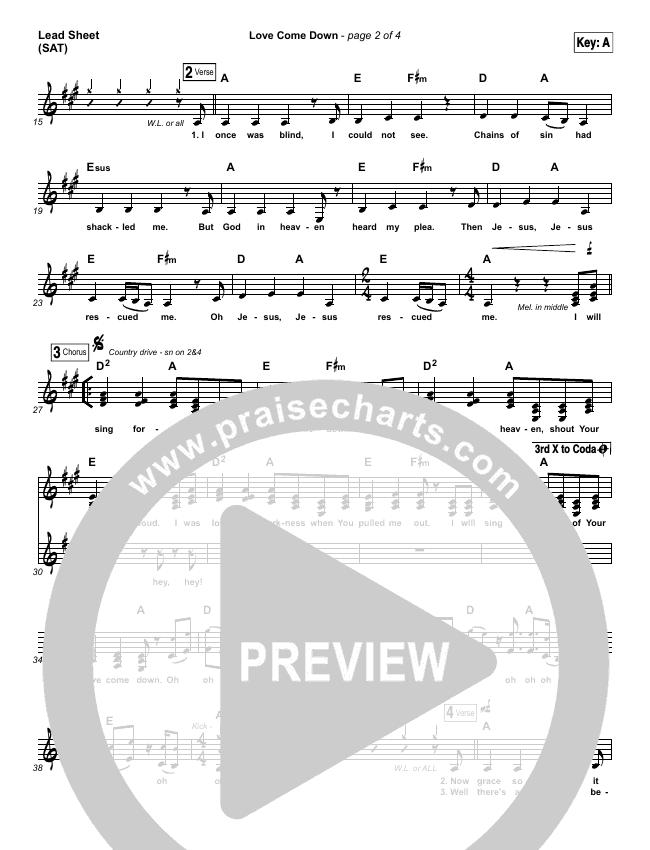 Love Come Down Lead Sheet (SAT) (Heath Balltzglier / North Point Worship)