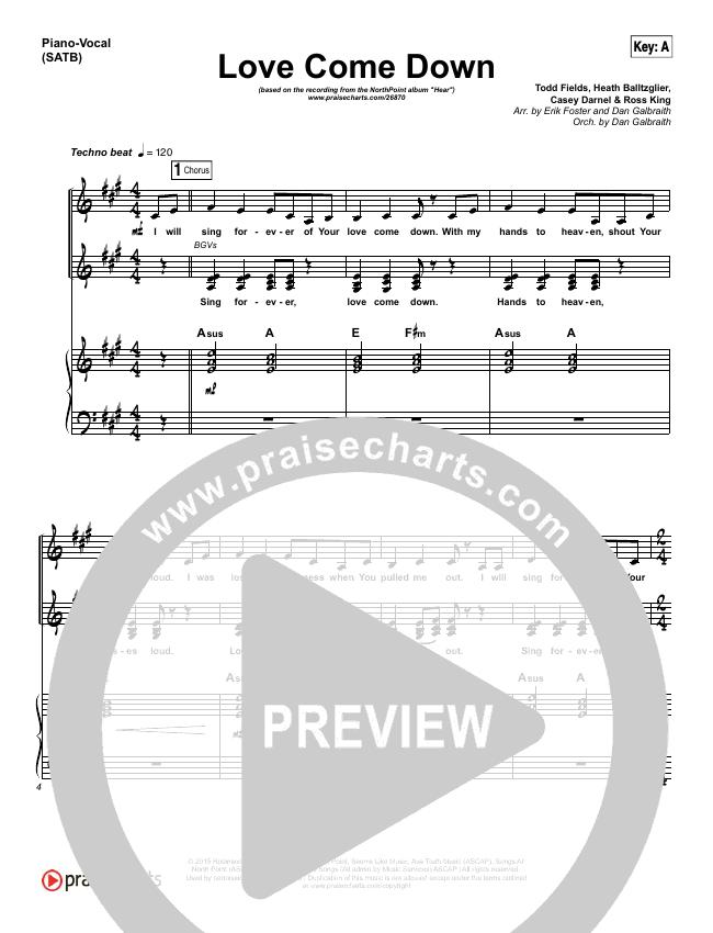 Love Come Down Piano/Vocal (SATB) (Heath Balltzglier / North Point Worship)