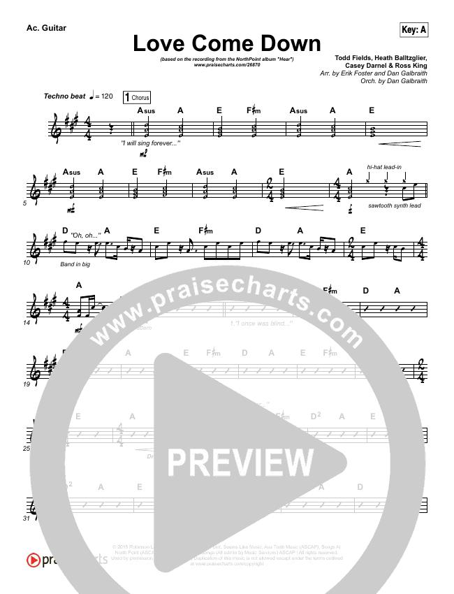 Love Come Down Rhythm Chart (Heath Balltzglier / North Point Worship)