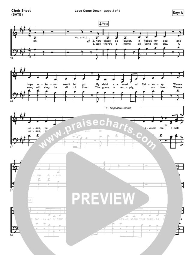Love Come Down Choir Sheet (SATB) (Heath Balltzglier / North Point Worship)