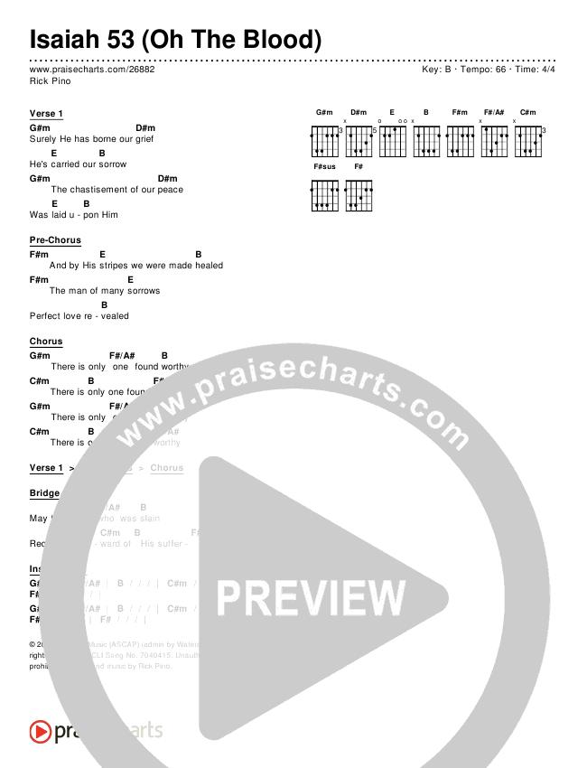 Isaiah 53 Oh The Blood Chords Rick Pino Praisecharts