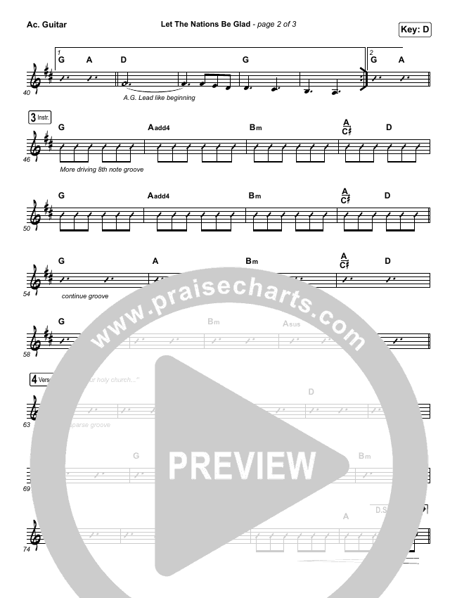 Let The Nations Be Glad Rhythm Chart (Matt Boswell)
