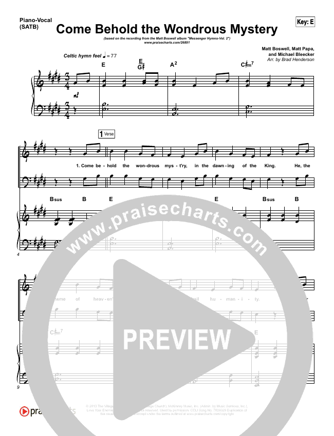Come Behold The Wondrous Mystery Piano/Vocal (SATB) (Matt Boswell)