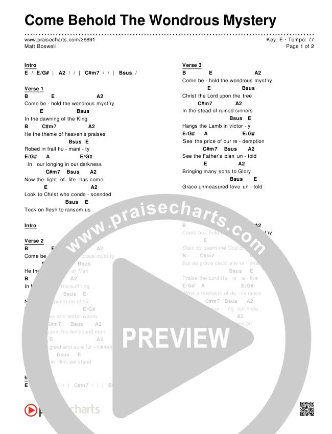 Come Behold The Wondrous Mystery Chords & Lyrics (Matt Boswell)