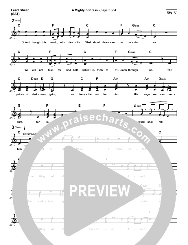 A Mighty Fortress Is Our God Lead Sheet (SAT) (Matt Boswell)