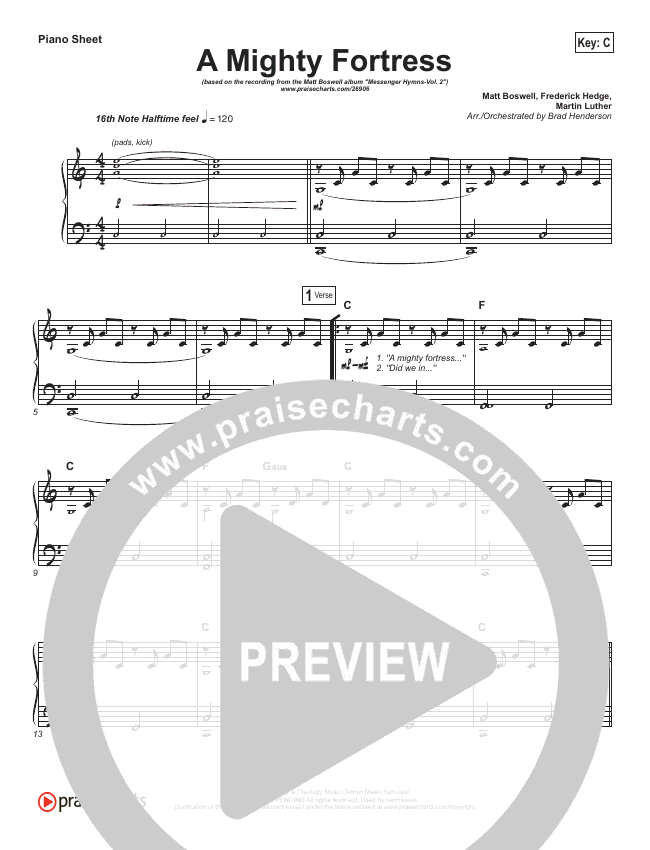A Mighty Fortress Is Our God Piano Sheet (Matt Boswell)