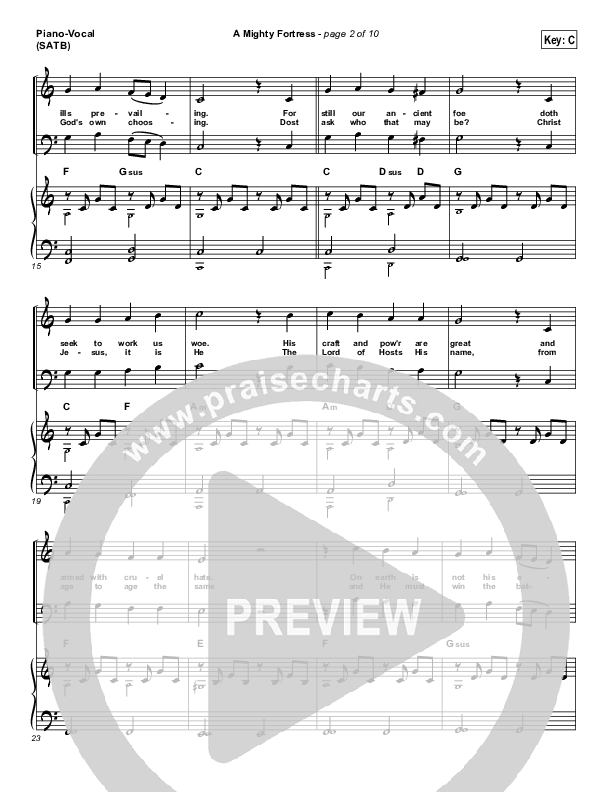 A Mighty Fortress Is Our God Piano/Vocal (SATB) (Matt Boswell)