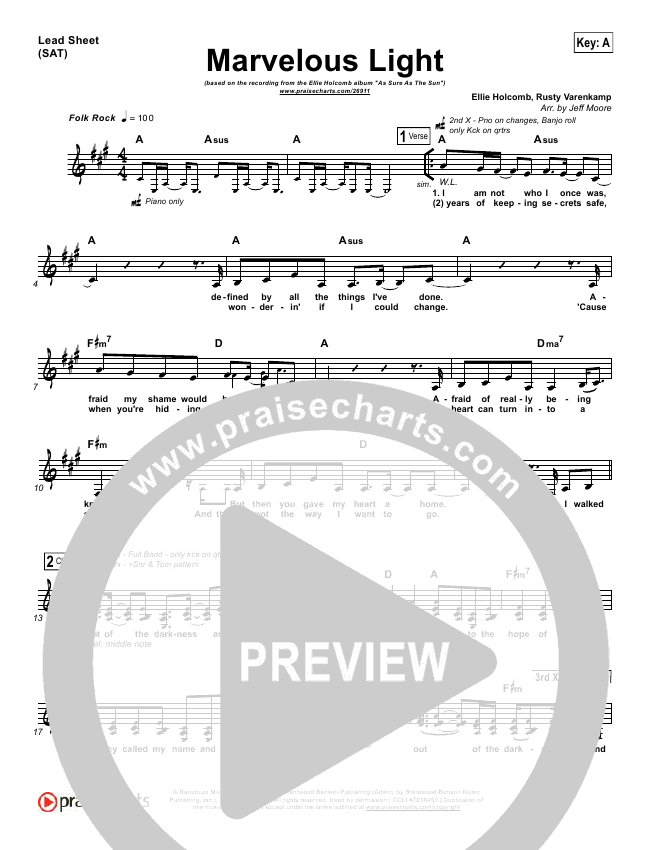 Marvelous Light Lead Sheet Ellie Holcomb Praisecharts