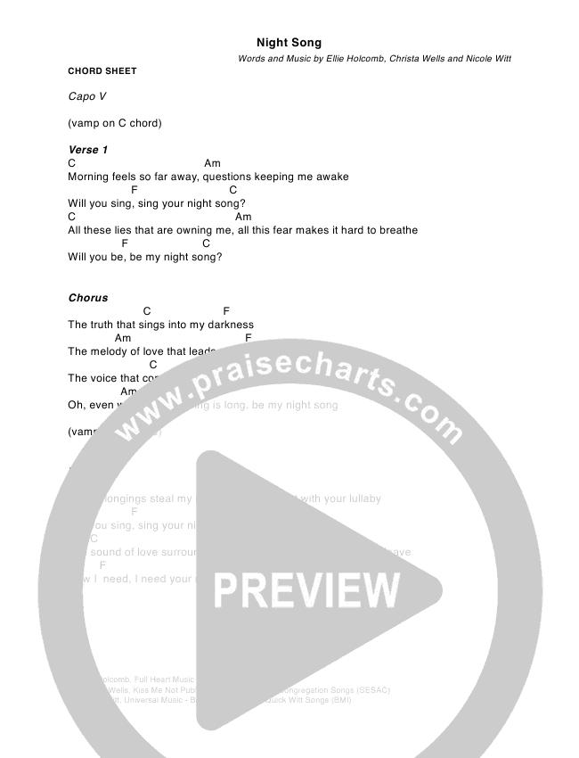Night Song Chords - Ellie Holcomb | PraiseCharts