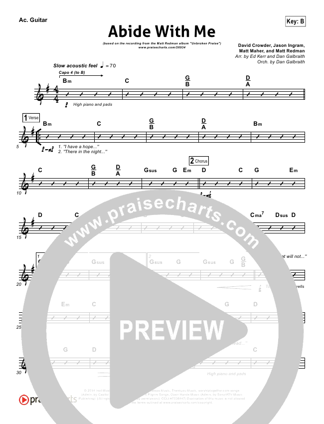 Abide With Me Rhythm Chart Matt Redman Praisecharts