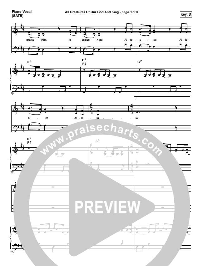 All Creatures Of Our God And King Piano/Vocal (SATB) (David Crowder)
