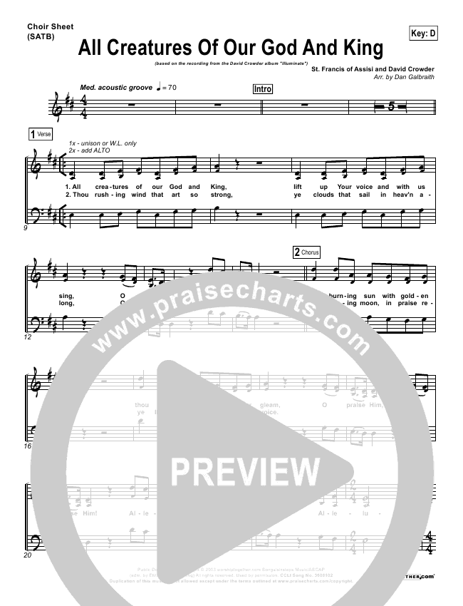 All Creatures Of Our God And King Choir Sheet (SATB) (David Crowder)