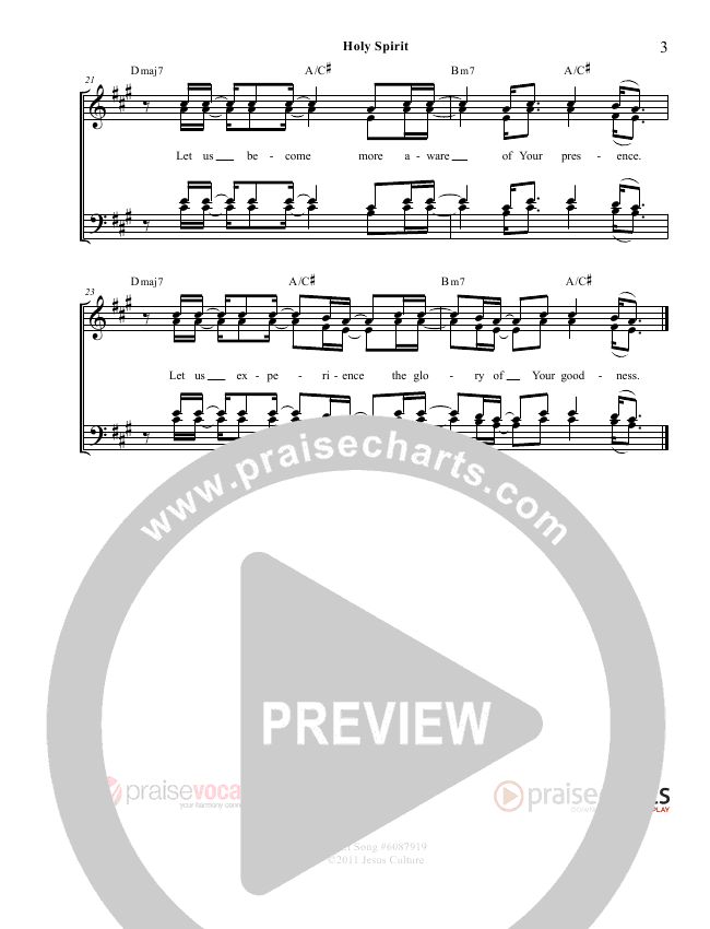 Holy Spirit  Lead Sheet (PraiseVocals)