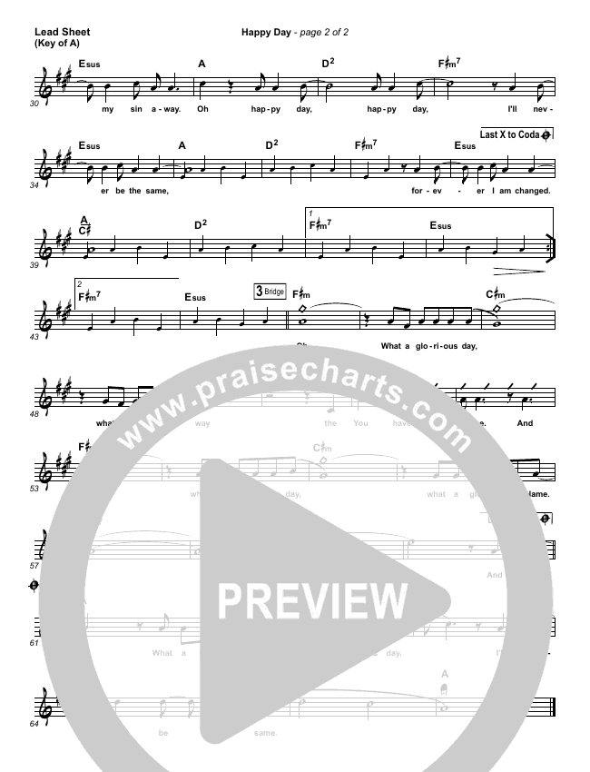 Happy Day Lead Sheet (Melody) (Tim Hughes)