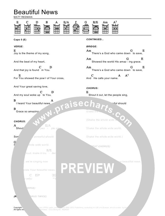 Beautiful News Chord Chart (Matt Redman)