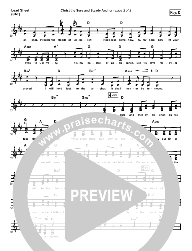 Christ The Sure And Steady Anchor Lead Sheet (SAT) (Matt Boswell)
