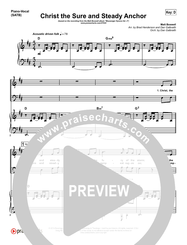 Christ The Sure And Steady Anchor Piano/Vocal (SATB) (Matt Boswell)