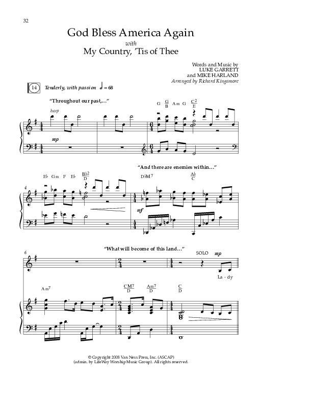 God Bless America Again Lead & Piano/Vocal (Mike Harland)