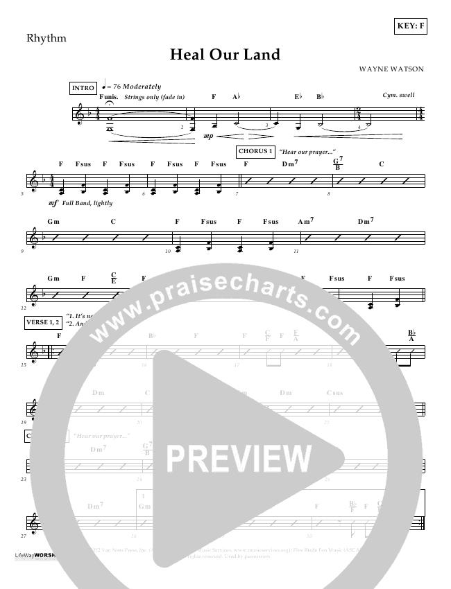Heal Our Land Rhythm Chart (Wayne Watson)