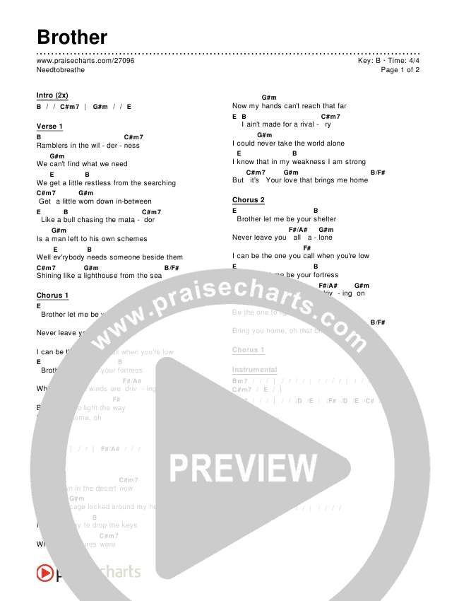 Brother Chords - Needtobreathe | PraiseCharts